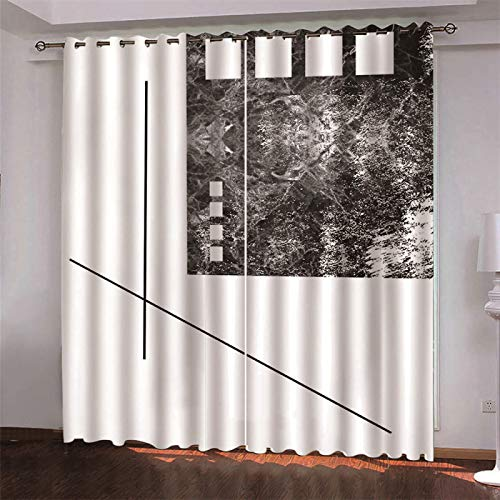 MMHJS 3D Digital Printing Curtain Thickened Polyester Fabric Partition Curtain For Bedroom And Living Room Shade Waterproof Household Items 2 Pieces