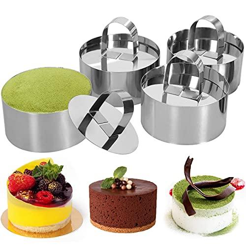 Ronde roestvrijstalen taartringen, 3 x 3 inch Dessert Mousse en gebak bakvorm, set van 4 (4 ringen, 4 pushers) kookringen