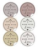 24 STICKER GEMISCHT: 24 Edle Aufkleber in 6 verschiedene Farben mit Herz und Ornamente'Made with Love' (A4 Bogen) • Sticker/Etiketten im Format 4 cm, rund, matt) Weihnachten, Gewürzgläser u.v.m.