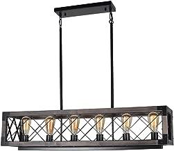 Beuhouz Long Wood Chandelier Light for Kitchen Island, Metal Farmhouse Dining Room Lighting Rectangle Rustic Chandelier Billiard Light 6 Lights Edison E26 8001A