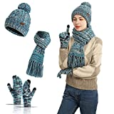 3 in 1 Winter Beanie Hats,Neck Warm Scarf and Touch Screen Gloves Set for Women and Men,Knit Cap Set (Blue)