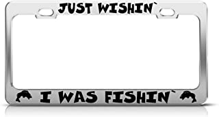 Speedy Pros Metal License Plate Frame Just Wishing I was Fishing Fish Car Accessories Chrome 2 Holes