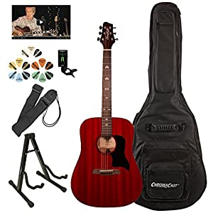 Sawtooth Modern Vintage Dreadnought Acoustic Guitar with ChromaCast Accessories, Trans Cherry Red
