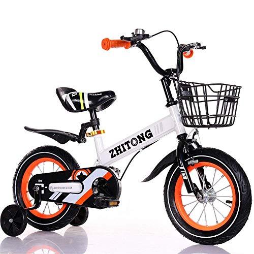 JIAMING Bicicleta infantil Boyrsquo;s Girlrsquo;s para niños de 2 a 9 años, 12, 14, 16, 18 niños bicicleta con ruedas de entrenamiento guardabarros (color: blanco, tamaño: 14 pulgadas)