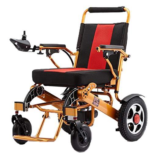 BYCDD Silla de Ruedas, Silla de Ruedas Plegable Ligera Portátil Plegable para sillas de Ruedas Potencia del Motor Eléctrica Power Chair,Red