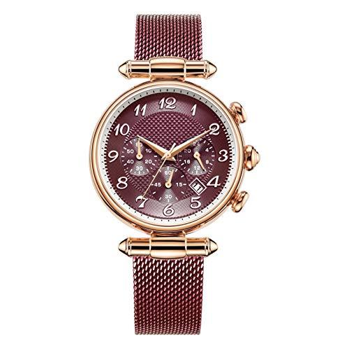 YQCH Las Mujeres Miran el Reloj analógico de Cuarzo de la Banda de Malla de Acero Inoxidable Reloj de Negocios Reloj de Rhinestone de Las señoras. (Color : A)