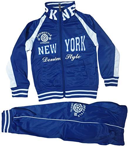 Generic Kinder Jungen Mädchen Trainingsanzug Sportanzug Jogginganzug Hose Jacke New York (Blau, 110/116)
