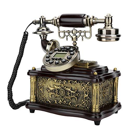 Teléfono Retro Vintage, Teléfono Fijo Vintage Estilo Giratorio, Teléfonos Cobre Imitación Resina con Botón para Decoración Sala Estar Oficina en Casa