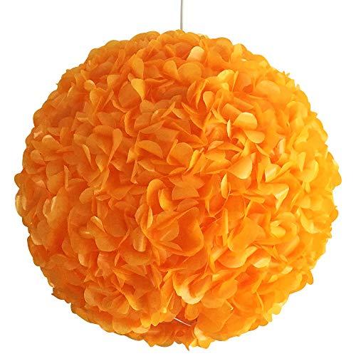 Yellow Orange Fluffy, Ø 32cm, Papierlampe Hängelampe Lampe Lampenschirm Pendellampe Designerlampe Deckenlampe Leuchte Gelb Orange AUS PAPIER + Lampenfassung E27 für LED Glühbirne