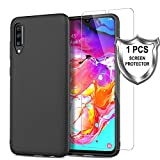 MP-MALL Hülle für Samsung Galaxy A70,[Anti-Rutsch] [Slim Fit] Flexible Premium TPU Gummi Schutzhülle mit Panzerglas Folie[1 Stück] für Samsung Galaxy A70 - Matte Schwarz