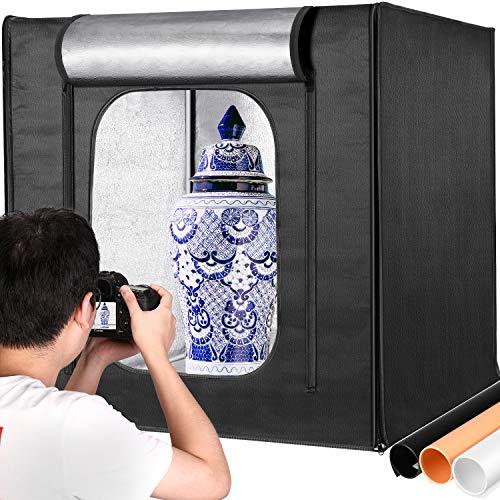 lighting ever light boxes Neewer Professional Photo Light Box Kit 32x32 Inch Adjustable Brightness Studio Photography Lighting Shooting Tent with 3 LED Light Panel (210pcs SMD LED Beads)/3 Color Backdrops, Multi-angle Shooting