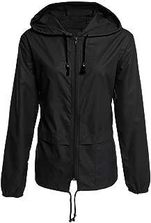 ERLOU Women's Long Sleeve Casual Solid Rain Jacket Outdoor Loose Waterproof Drawstring Hooded Windproof Coat