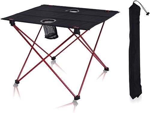 MIMI KING Table de Camping Pliante portative extérieure avec Porte-gobelets Tables de Pique-Nique légères avec Sac de Transport pour Travel Beach Camp