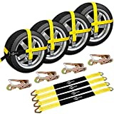 """Trekassy 2""""x 120"""" Wheel Net Car Hauler Tie Down Straps for Trailers Heavy Duty with 4 Axle Straps and 4 Ratchet with Snap Hooks"""