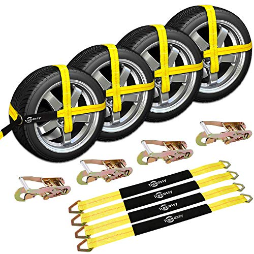 "Trekassy 2""x 120"" Wheel Net Car Hauler Tie Down Straps for Trailers Heavy Duty with 4 Axle Straps and 4 Ratchet with Snap Hooks"