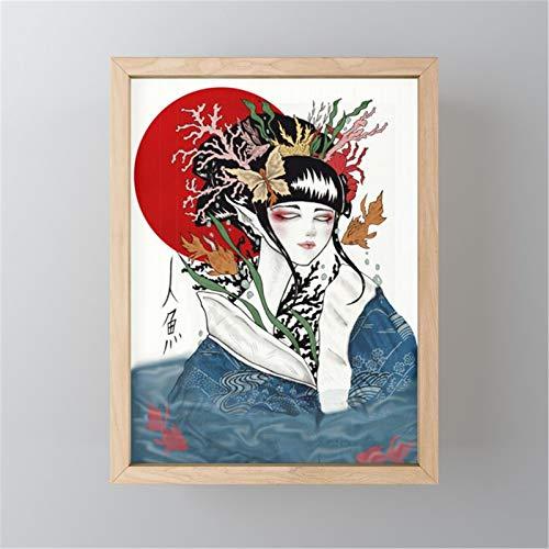 Geisha Japonesa Pintar por Numeros para Adultos Patrón De Kit de Pintura al óleo para Bricolaje con Pinceles y Pinturas Decoraciones para el Hogar30x40cm sin Marco