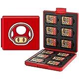 Etui kompatibel Für Nintendo Switch,Tragbar & Dünn, Schutzhülle Aufbewahrungsbox Spiele Cards Tasche,mit 12 Spiele Schlüssel + 12 TF Schlüssel (Mushroom/Red)
