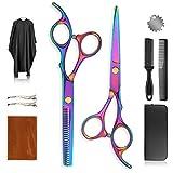 Vivibel - Juego de tijeras de peluquería profesionales, tijeras de peluquería afiladas, tijeras de corte de pelo extra afiladas con capa de corte de pelo, juego perfecto para hombres, mujeres y niños