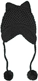 ALLDECOR Knitted Hat with Pom Pom Ear Cap Hot Pink Pussycat Beanie for Women's March