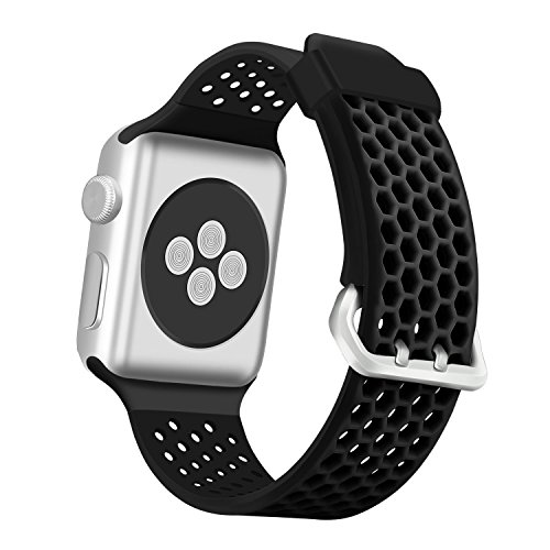 eseekgo Compatible with Apple Watch Band 44mm Series 5 Series 4 40mm, Compatible with Apple Watch Sport Band Series 3 38mm 42mm, Soft Silicone Bands for iWatch Series 2 1 for Men Women
