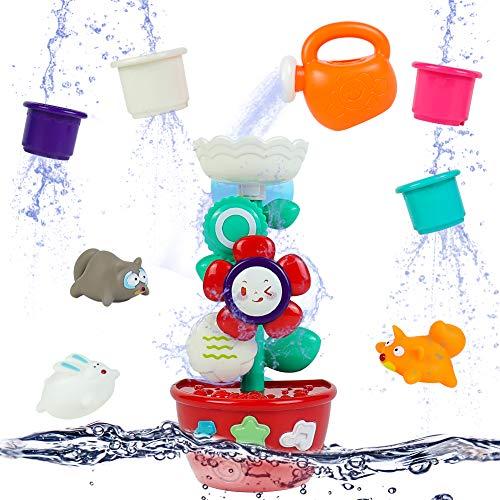 Badewannenspielzeug Badespielzeug Baby ab 1 2 3 Jahr -Wasserspielzeug mit Saugnapf und 4 Stapelbecher für Badewanne Tiere Babyspielzeug Geschenk für Kinder Junge Mädchen