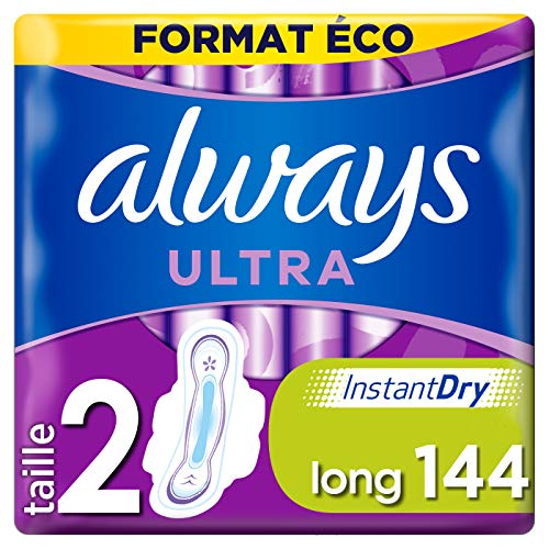 Always Ultra, Serviettes Hygiéniques, Long Plus, Format Éco x144