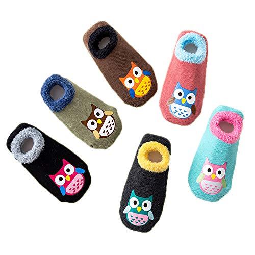 Hapkou 6 Pares Calcetines Antideslizante para Bebé Niña Niño Animados Lindo Búho Algodón Calcetines de Bebé