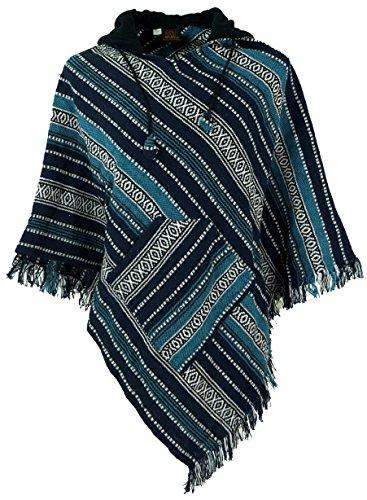 Guru-Shop Poncho Hippie Chic, Andenponcho mit Fransen, Herren/Damen, Blau, Baumwolle, Size:One Size, Jacken, Strickjacken, Ponchos Alternative Bekleidung