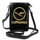 Lufthansa Airline Symbol Logo Mujer Cuero Pequeño Teléfono Celular Bolso Crossbody Bolsos Negro Talla Única