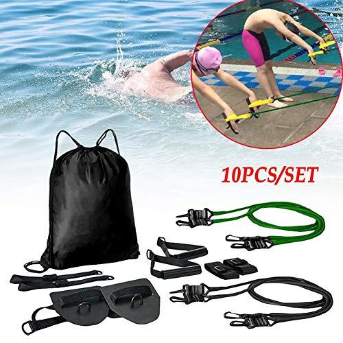 TOMATION Trockentraining Zugseile Latex-Zugseil mit Handpaddles,zur Stärkung von Schwimmhandschuhen mit Schwimmhäuten