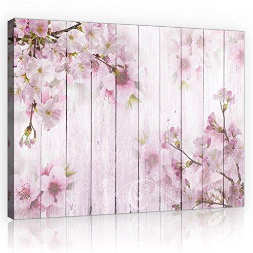 welt-der-träumewandbild canvasbild lienzo impresión de Lienzo   flor de cerezo en el tableros     lienzo 11468_ pp-ms   arte flores flores de madera flor de cerezo, O1 (100cm. x 75cm.)