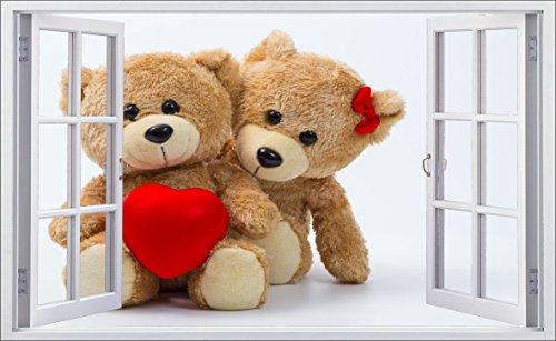 DesFoli Teddy Bären Love 3D Look Wandtattoo 70 x 115 cm Wanddurchbruch Wandbild Sticker Aufkleber F627