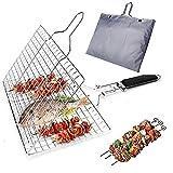 BRONG Cestino per grigliare barbecue portatile in acciaio inox per verdure, pesce gamberetti bistecca con manico in legno, 4 spiedini per kebab