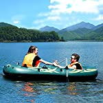 Yocalo inflatable boat series,raft inflatable kayak, fishing boat kayak,2,3,4 person boat with aluminum oars, cushion… 12 ❀ dimension: length 106. 3', width 55. 1 ' and height 17. 7',weight 22lb,age grading:6+ ❀ safety & environmental protection--constructed with super durable 0. 6mm pvc environment-friendly materials, the boat is comfortable and durable. ❀ 4 independent air chambers with valves; boston valve, motor mount fittings buckle. Included cushion, rope,aluminum oars,repair patch and hand pump.