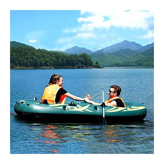 Yocalo inflatable boat series,raft inflatable kayak, fishing boat kayak,2,3,4 person boat with aluminum oars, cushion… 6 ❀ dimension: length 106. 3', width 55. 1 ' and height 17. 7',weight 22lb,age grading:6+ ❀ safety & environmental protection--constructed with super durable 0. 6mm pvc environment-friendly materials, the boat is comfortable and durable. ❀ 4 independent air chambers with valves; boston valve, motor mount fittings buckle. Included cushion, rope,aluminum oars,repair patch and hand pump.