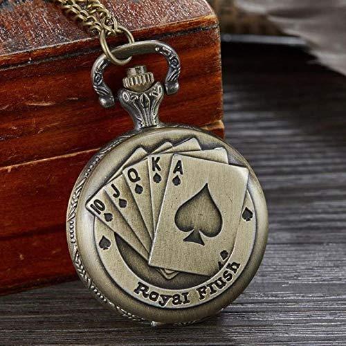 ZMKW Poker Card Quartz Pocket Watch Schwarz Kleine Uhren mit 2,5 cm Durchmesser Halskette für Männer Bronze Kinder Kinderuhr, Bronze Poker Stars