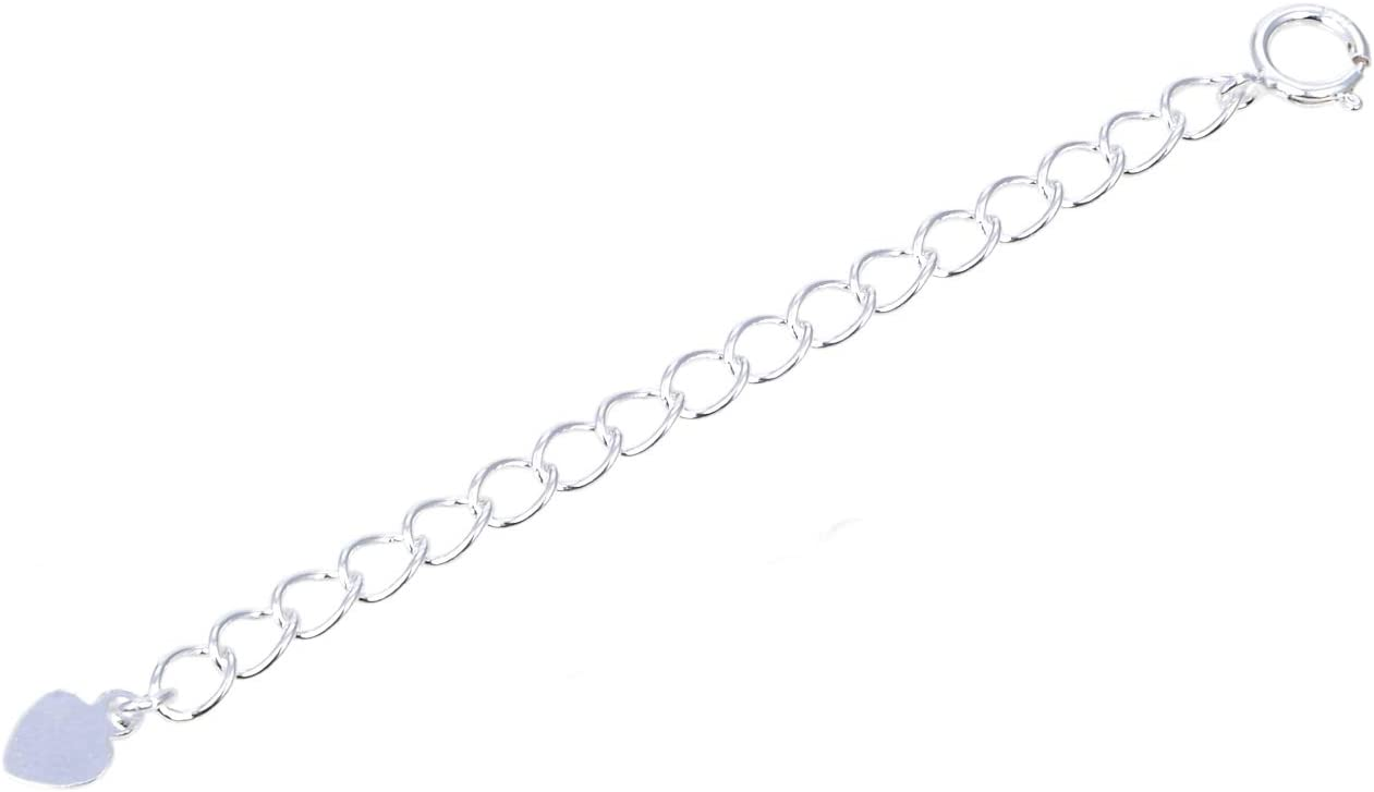 1pc Sterling Silver Necklace Extender Cute Removable Adjustable 2 inch Chain Extension for Necklace Anklet Bracelet SS299-2