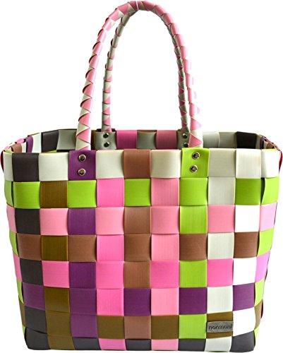 normani Einkaufskorb Shopper geflochten aus Kunststoff - robuster Strandkorb aus wasserabweisendem Material Farbe Classic/Orchidea