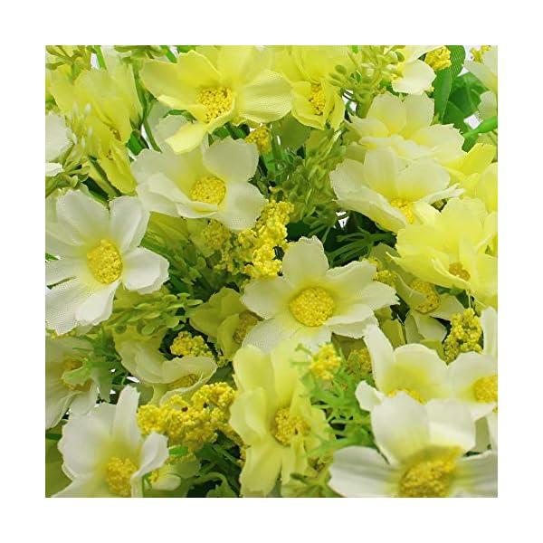 UBERMing 4 Unidades Flores Artificiales de Seda de Margarita 7 Ramas 28 Cabezas Flores de Seda de Plástico Sintético…