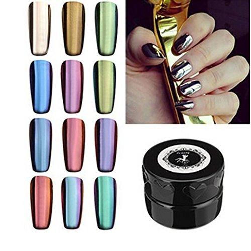 Ouneed® 1 Set 12 Couleur 2g/ Boite Chrome Poudre Paillete Fond de Ongles Miroir Decor