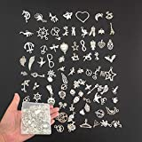 Tangser 100Pcs Tibetan Silver Metal Antique Gold Charm, Animal Star Plant Pirate Retro Style Mixed Pendants DIY for Bracelet Necklace Jewelry Making and Crafting with a PP Case