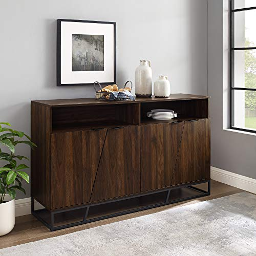 Walker Edison Angled Door Cabinet-Sideboard-Buffet with Open Shelf Storage, 58, Dark Walnut