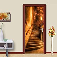 3DドアステッカーHdプリント屋内ドア壁画壁紙取り外し可能な自己接着ビニール壁デカールポスターDiyアーティスト家の装飾抽象階段PVC壁画-88cmx200cm