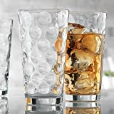 Attractive Set of 10 Drinking Glasses, Clear Heavy Base Tall Bar Beer Glasses, Bubble Design Glass Cups - Highball Glasses for Water, Juice, Beer, Wine, and Cocktails 17oz.