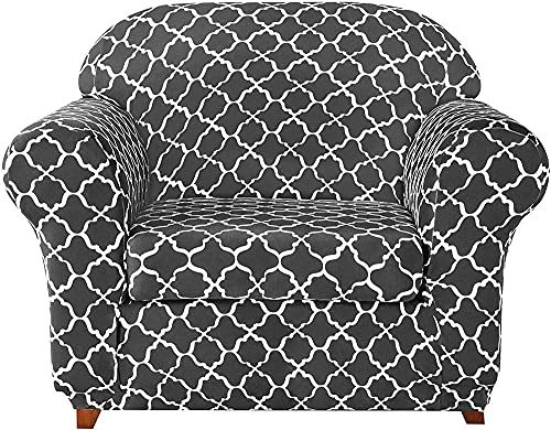 BABYCOW 2-Piece Universal Sofa Covers, Jacquard Stretch Sofa Cover Armchair Covers 1 2 3 4 Seater Polyester Spandex Floral Pattern Anti-Slip Couch Slipcover for Pets (Gray,1 Seater/Chair)