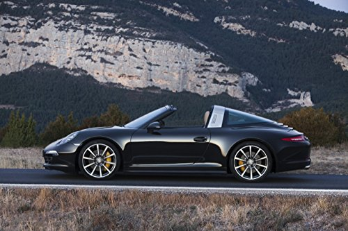 "Porsche 911 (991) Targa 4S (2014) Car Art Poster Print on 10 mil Archival Satin Paper Black Side Static View 36""x24"""