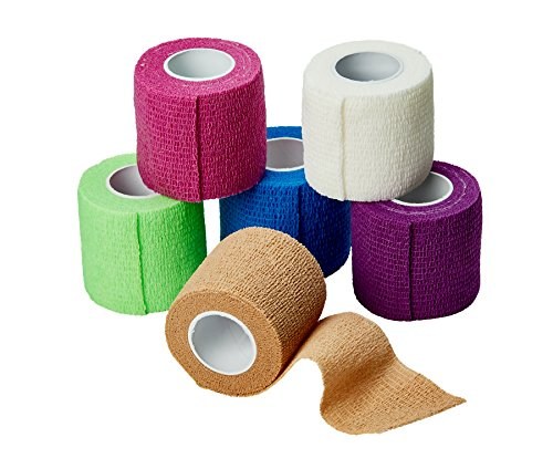 MEDca Self Adherent Cohesive Wrap Bandages 2 Inches X 5 Yards 6 Count, (Rainbow Color)