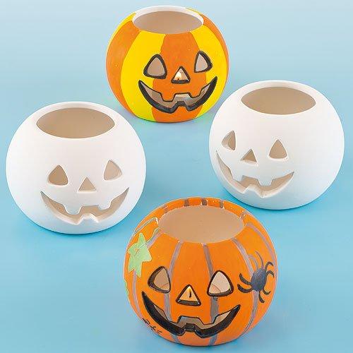 Baker Ross H1582 Teelichthalter, Keramik, Kürbis-Design