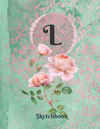 Basics Sketchbook For Drawing - Personalized Monogrammed Letter L: Framed White Pages Drawing Notebook of Green and Pink Damask Lace with Roses on Glossy Cover