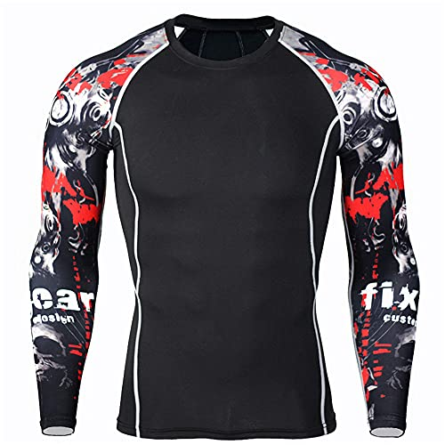 ZYUD Mens Compression Under Base Layer Top Long Sleeve T Shirts Man's Movie Theme Print Hero Running Sport Tight Fitness Longsleeve T-Shirt Exercise Longsleeve Top Muscle Base Layer Shirts